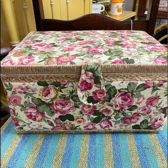 New Large Vintage Sewing Basket Floral Fabric